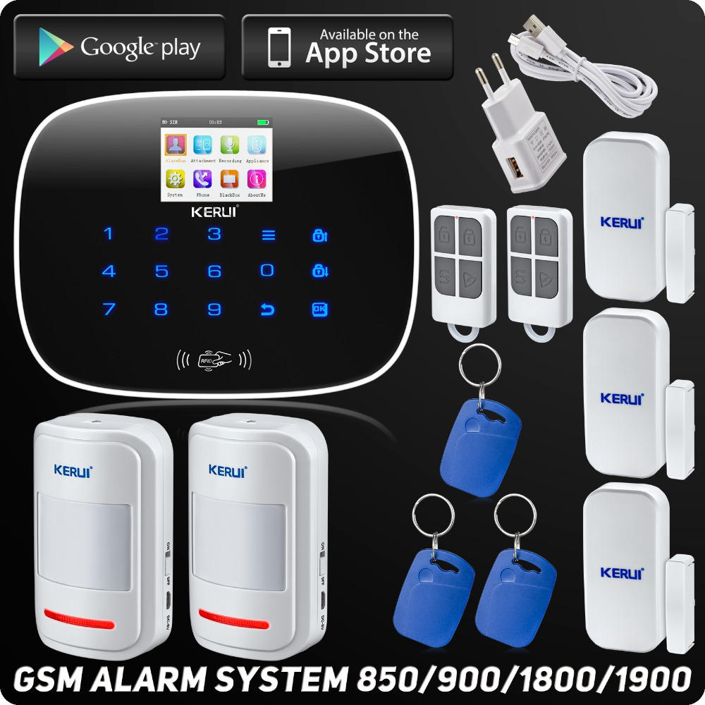 Kerui G19 Wireless Wired App Controlled LCD GSM SMS RFID Autodial Touch Keypad Home Security Alarm System Motion Sensor(China (Mainland))
