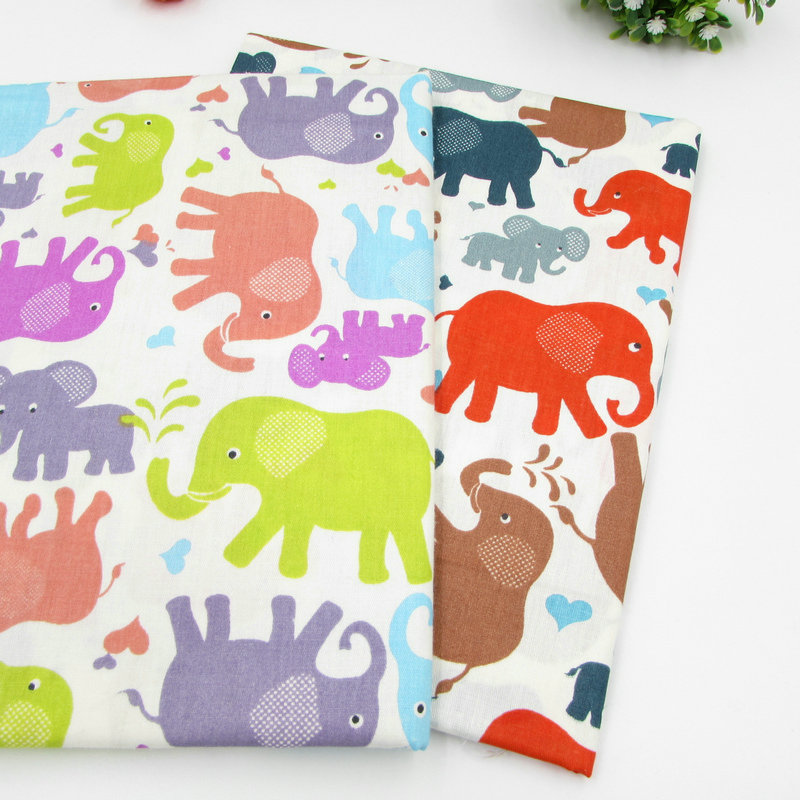 50*160cm/piece Colorful Elephant Cotton Fabric for Baby Patchwork Quilt Home Decoration Pillow Cover Handicraft Sewing Telas(China (Mainland))