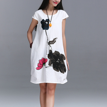 New Fashion 2016 Summer Arts style High Quality cotton linen Loose casual Women Dresses Vintage Ink Printing Short sleeve Dress(China (Mainland))