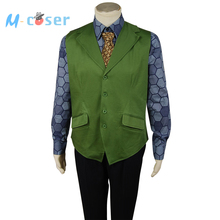 Batman The Dark Knight Joker Hexagon Style Movie Halloween Cosplay Costume For Adult Men Green Vest+Blue Shirt