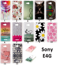 Printed Cute Cat Elephant Bear Owl Flower Painting Silicone Soft TPU IMD Phone Case Cover Sony Xperia E4G - Just-1 store