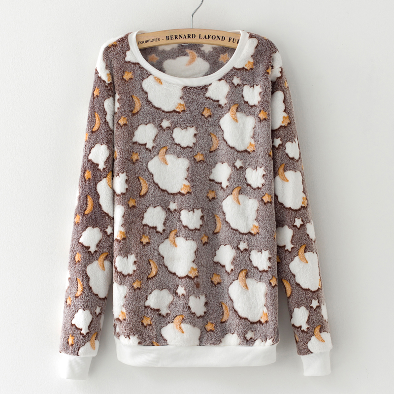 Novelty gray star moon Cloud Print Harajuku Christmas Sweater Women 2017 Winter Warm Flannel Sweater Cashmere Knitted Sweater(China (Mainland))