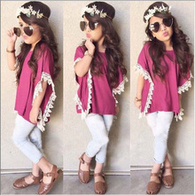 2016 Formal Clothes Baby Girl Fashion Batwing Sleeve Tops+Pants Little Lady Outfits Wearing High Quality Zhejiang Factory