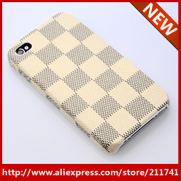 FREE SHIPPING 10 PCS Retail wholesale 2013 milk white grid hot sale cases for iphone 4 4s