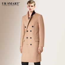URSMART new double-breasted long men wool coat of camel's hair coat (China (Mainland))