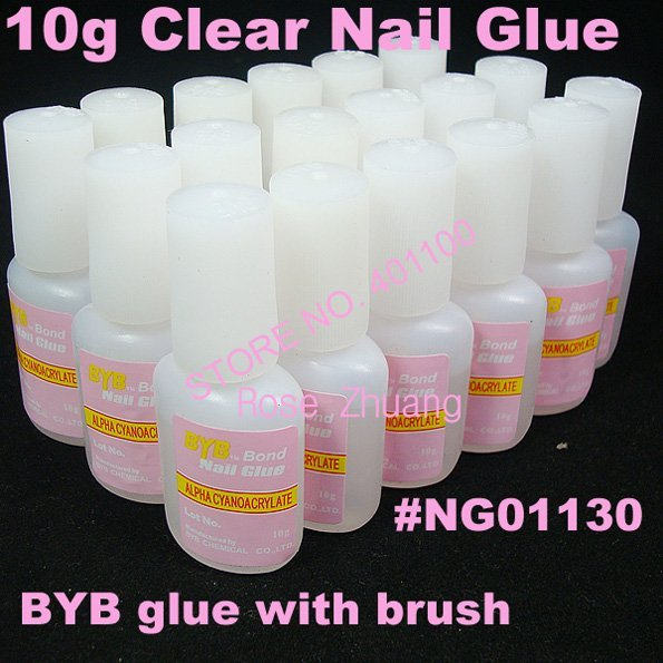 2015 Freeshipping--240pcs/lot 10g Clear  Acrylic BYB Nail Glue with Brush for False Nail Tips Wholesale Nail Art C0039X
