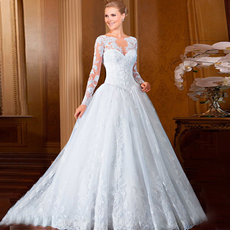 2016 new lace long sleeves wedding dress white princess for Elegant ball gown wedding dresses