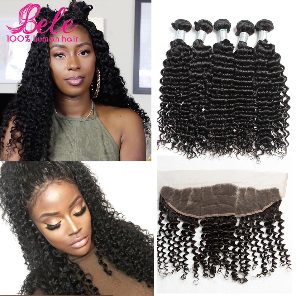 Bele Malaysian Deep Curly With Frontal Closure 7A Mink Malaysian Virgin Hair Deep Wave Curly Lace Frontal Closure With 4 Bundles