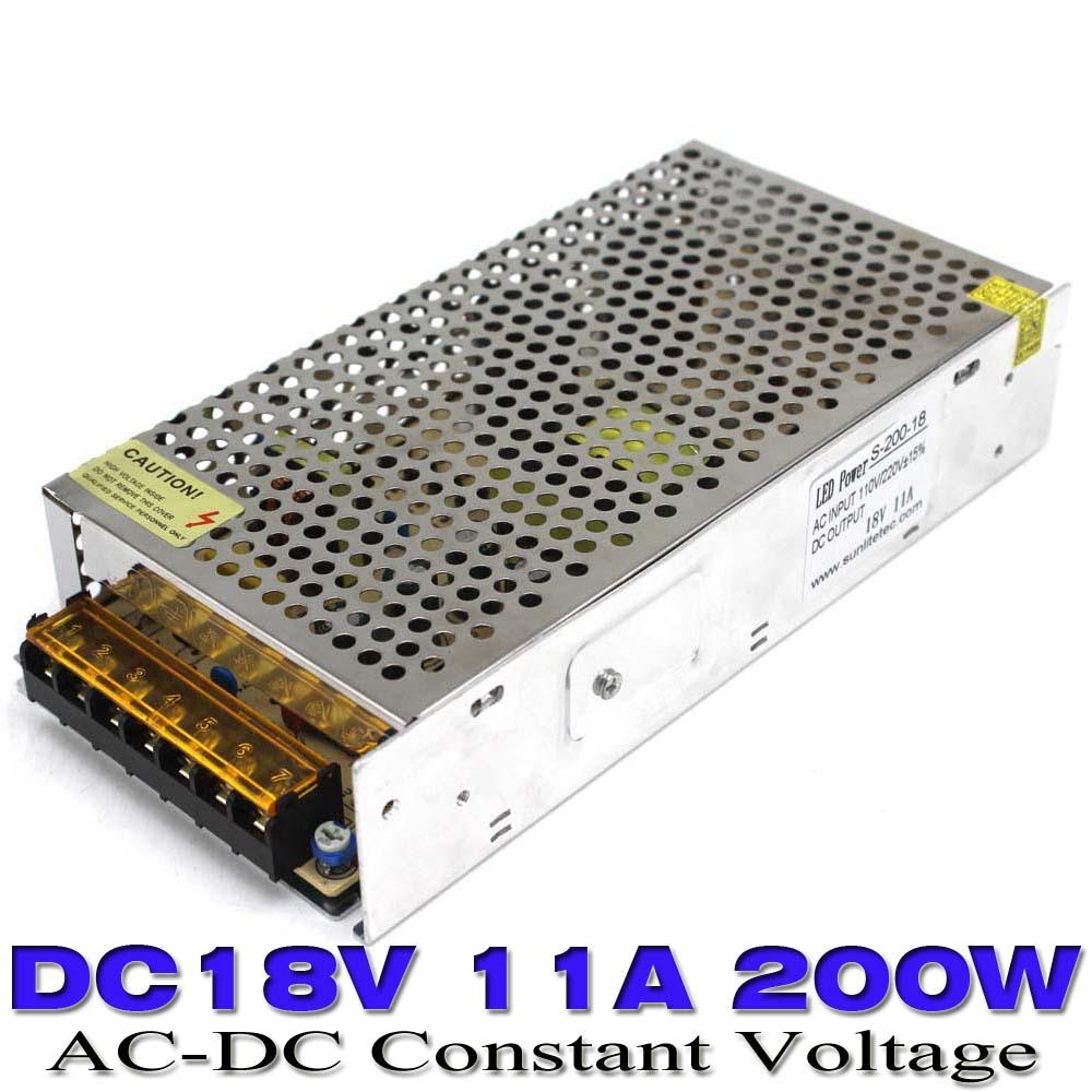 200W 18V 11A Small Volume Single Output Switching power supply for LED Strip CNC 3D Print Transformer 110 220V AC to DC18V UPS(China (Mainland))