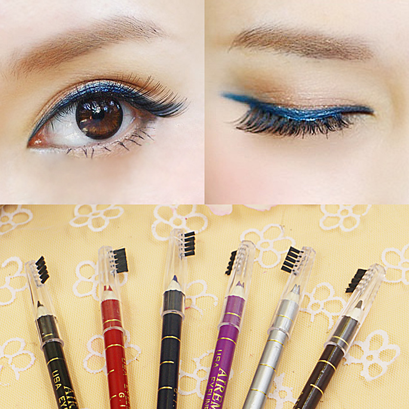 Wholesale - 1Pcs/Lot Rose lime green silver violet eye shadow color eyeliner pencil with lip brush