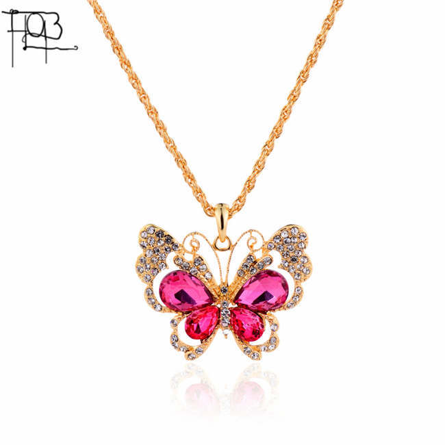 18K Gold Plated Rhinestones Crystal Butterfly Pendant Necklace Long Fashion Necklaces for Women 2015(China (Mainland))
