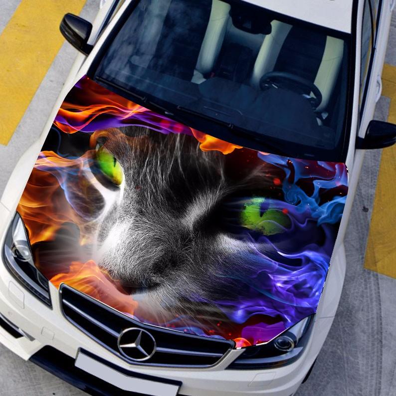 DIY Car styling HD inkjet In Flames Terror Specter Cat Hood stickers Waterproof hood Protective film Animal decals 135*150cm