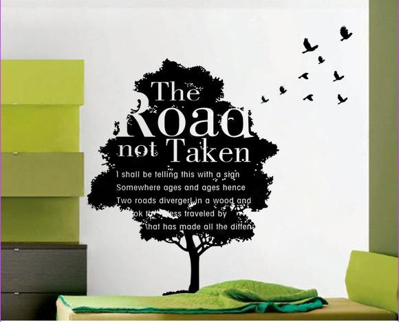 2015 Hot Fashion Wall Stickers Quotes Home Wall Decals Tree And Birds Stickers Vinyl Wallpaper Poem Word Vinyl Wall Decoration-in Wall Stickers from Home, ...