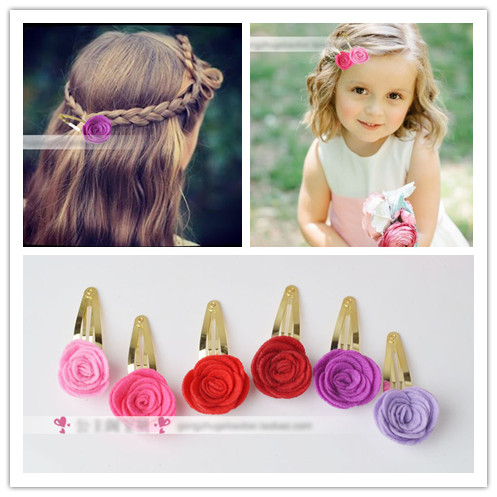 2 pieces lot Colorful Rose Hair Snap Pin Artificial Rosette Flower Hair Clip Bridal Bridesmaid Barrette Vintage Pastoral Grip(China (Mainland))