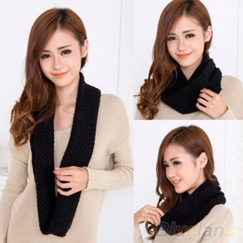 Women Girl Winter Warm Infinity Wrap 2 Circle Shawl Cable Knit Cowl Neck Long Scarf 1PY7
