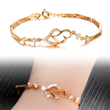 Gold Plated Bracelet New fashion Simple style18K Gold Plated charm bracelets w/ 3A Zircon Heart Jewelry Bracelet For Women KS412(China (Mainland))