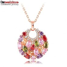 2016 LZESHINE Brand 18K Rose Gold Plated Necklaces & Pendants Micro Inlay Multicolor AAA Cubic Zircon Collares Pingente CNL0008(China (Mainland))