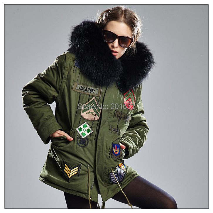 women's real raccoon large fur coat Full lining black faux Army Green mr mrs Jackets Unisex - Harve leger store