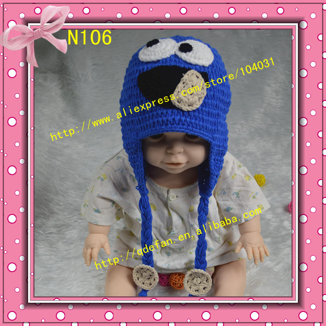 Free shipping 20pc/lot handmade baby knit beanie hat crochet newborn hats cookie earflap caps for kids and infant children hats(China (Mainland))