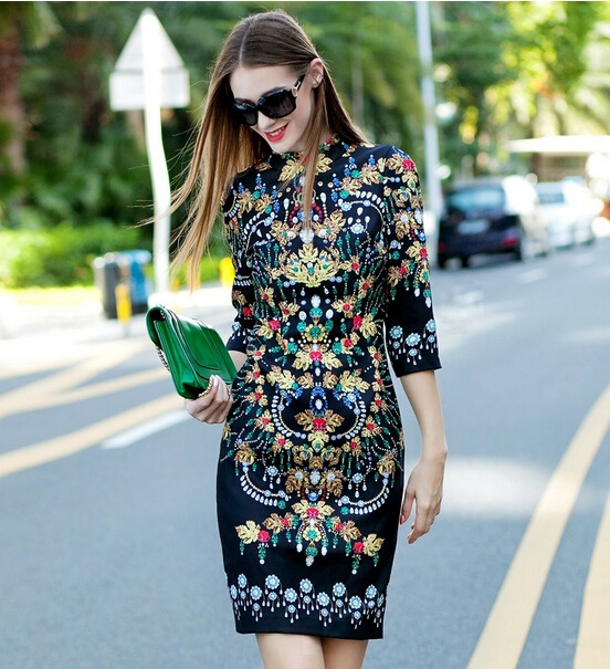 Top Quality New 2015 Autumn Vestido European Dress Women Stand Collar Beading Jewlry Print 3/4 Sleeve Bodycon Vintage Dress XLОдежда и ак�е��уары<br><br><br>Aliexpress