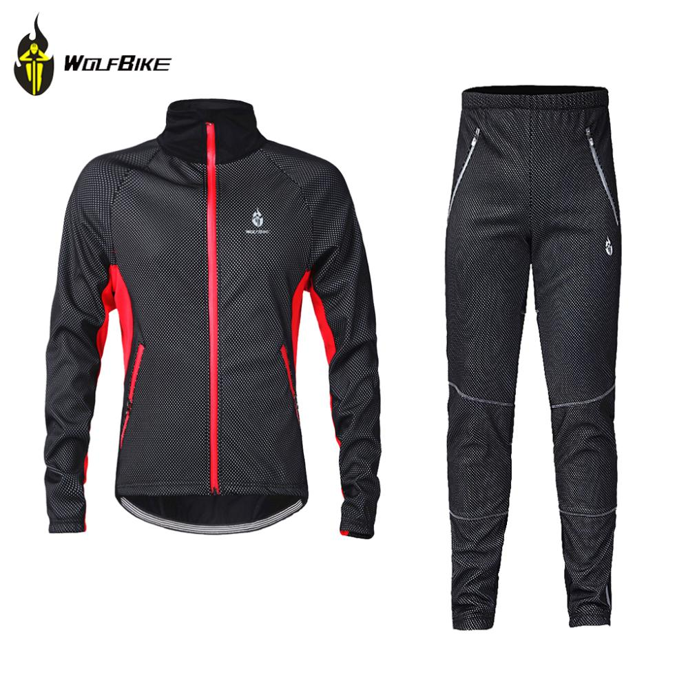 WOLFBIKE Men Fleece Thermal Winter Wind Cycling Jacket Windproof Bike Bicycle Coat Clothing Casual Long Sleeve Jersey Pants Set<br><br>Aliexpress