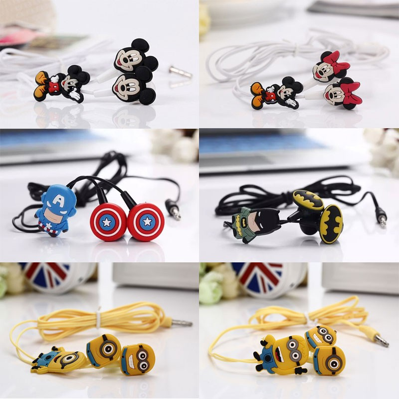 Cartoon Earphone Cute 3.5mm In-ear Headset Earbud for Smartphone iPad Mp3 for Minnie Mickey Mouse Mr Minions Batman Gift for Kid