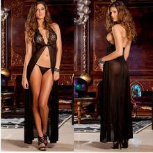 S-XXXL sexy lingerie hot black lace halter nightgown Transparent Sexy Lingerie Set Babydoll eroticas sleepwear plus size