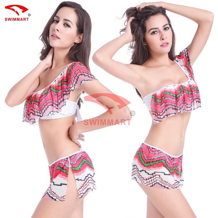 Neoprene Bikini Swimsuits Free Shipping Flounced Top Crotchet Triangl Siwmwear Bikini Transparent Mesh Made Push Up Triangle(China (Mainland))