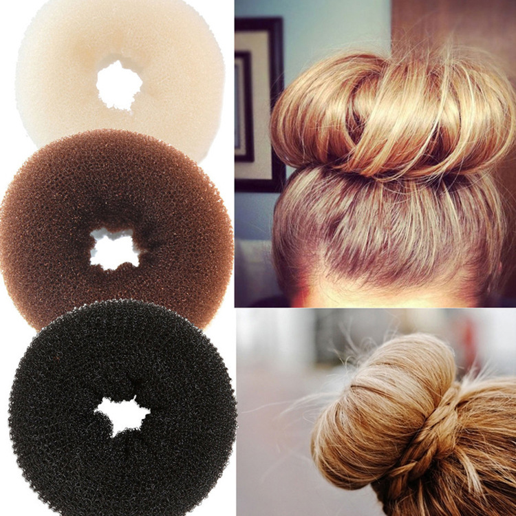 Diameter 9cm fashion Nylon elastic hair donuts for women fast bun styling accessoire cheveux hair ties scrunchy wholesale(China (Mainland))