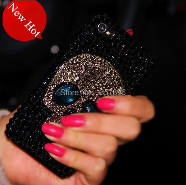 Metal saphire eye Skull Skeleton Diamond Rhinestone Case for iPhone 4s 5s 5 5C 6 6 plus for Samsung galaxy s3 s4 s5 note 2 3 4(China (Mainland))