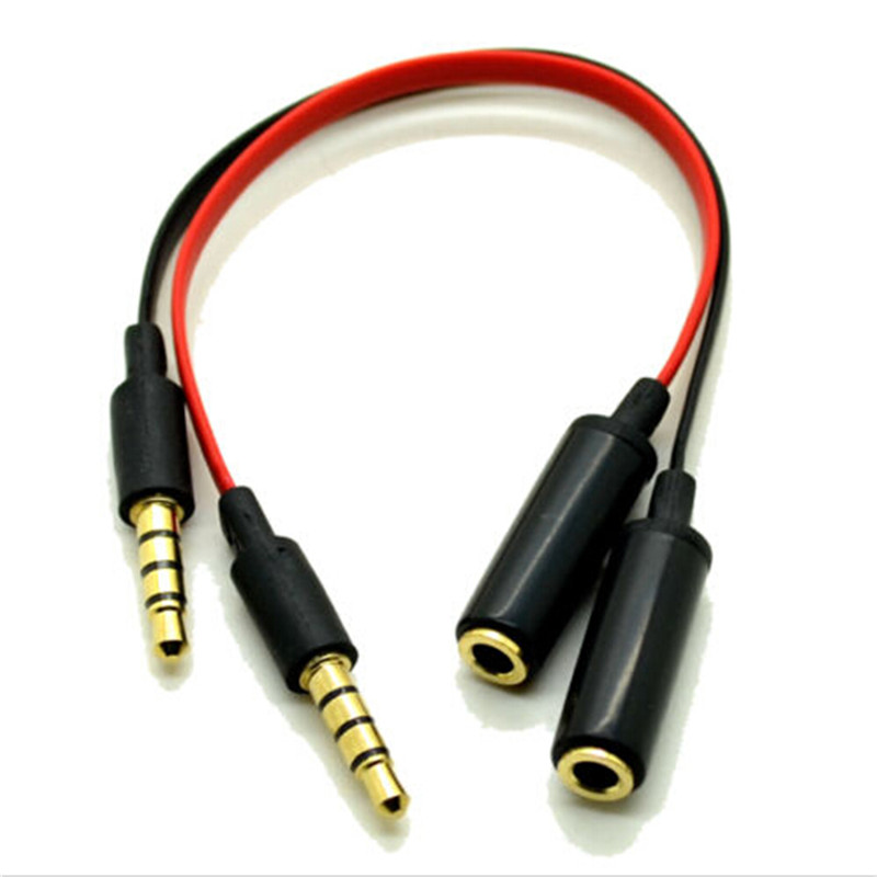 Good Quality Applied 3.5mm M/F Phone Headset Convert Adapter For iPhone/HTC/Samsung/Nokia Black Red Cable Hot Selling(China (Mainland))