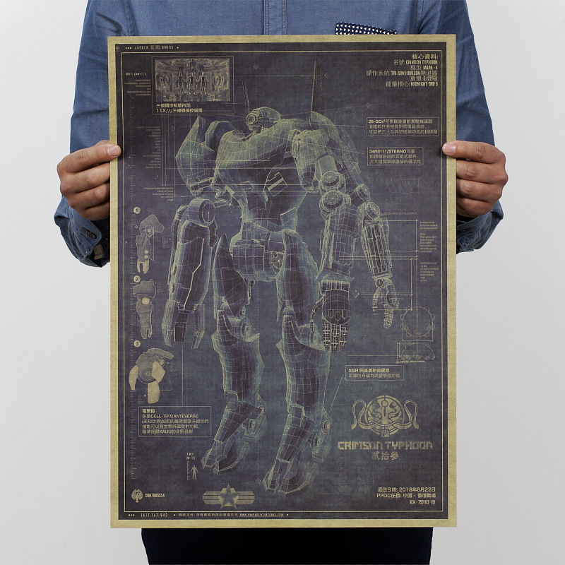 Top fashion Vintage poster painting Mech Warrior/robot design drawings/kraft paper poster,Movie poster Wall stickers 51x35.5 cm(China (Mainland))