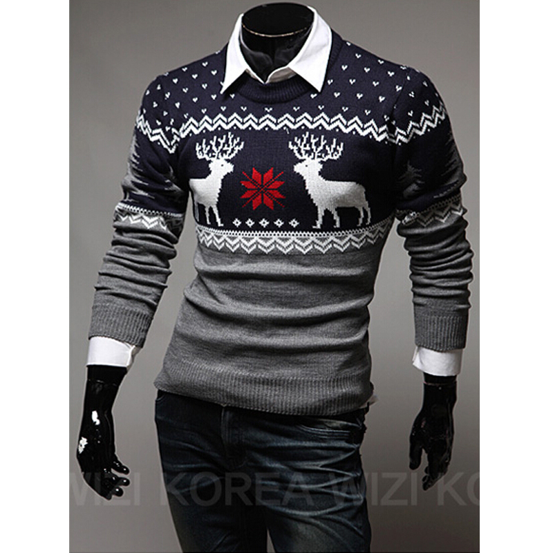 Fashion Mens Pullover Sweaters Long Sleeve Men Winter Sweaters O-neck Casual Warm Christmas Outdoor Sweaters Wholesales