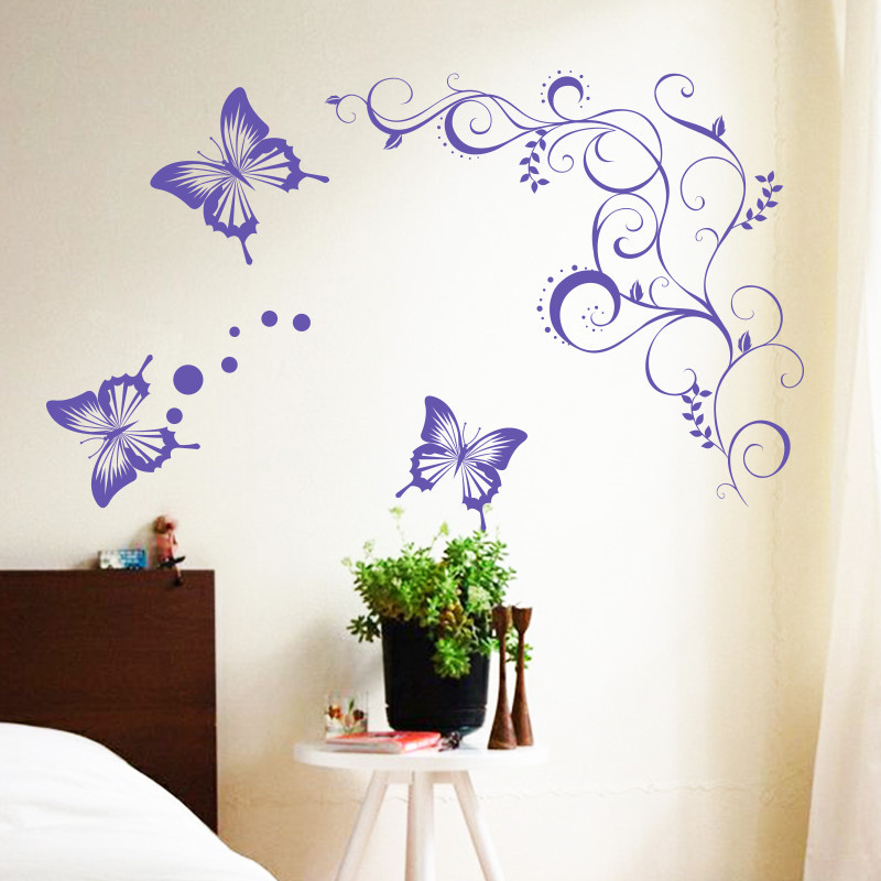 Art Unique design home decoration large pvc flower and butterfly wall stickers house decor animal and plant decals in rooms(China (Mainland))