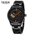 TEZER Famous Brand Watches Mens Black Stainless Steel Automatic Self Wind Tourbillon Wrist Watch For Men