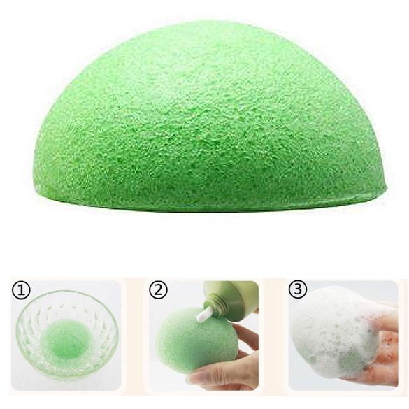 Hot Sale Natural Konjac Konnyaku Facial Puff Face Wash Cleansing Sponge Green NVIE(China (Mainland))