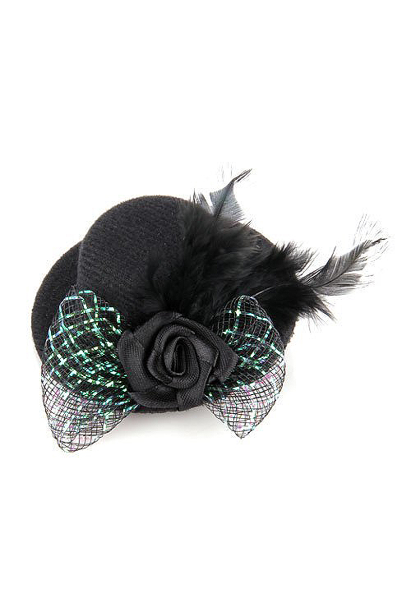 8 Pack Feather Hair Clip Flower Bow Black Mini Top Hat Party Lolita Cosplay Goth(China (Mainland))