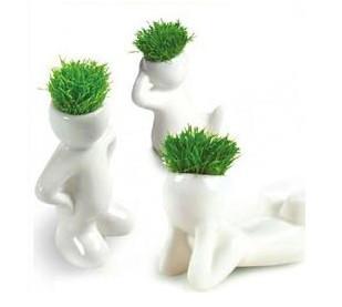 Grátis frete White Grass cabeça cerâmica porcelana Planter(China (Mainland))