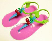 2015 New Cherry Comfortable Full Paillette Cow Muscle Outsole Flat Sandals Fashion Jelly Contrast Color T - city life store
