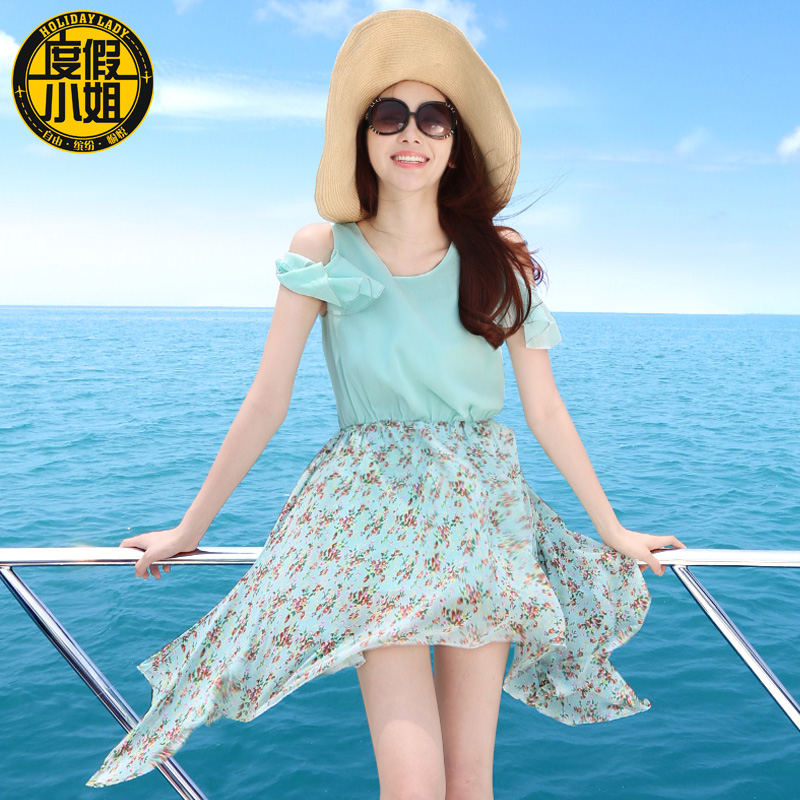 2015 summer beach dress short skirt female bohemia irregular one-piece - jacket .jackets store