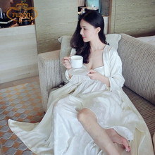 Free Shipping  Women's Long Robe Royal Beige Sleepwear Embroidery Silk Satin Nightgown Two Pieces Set(China (Mainland))