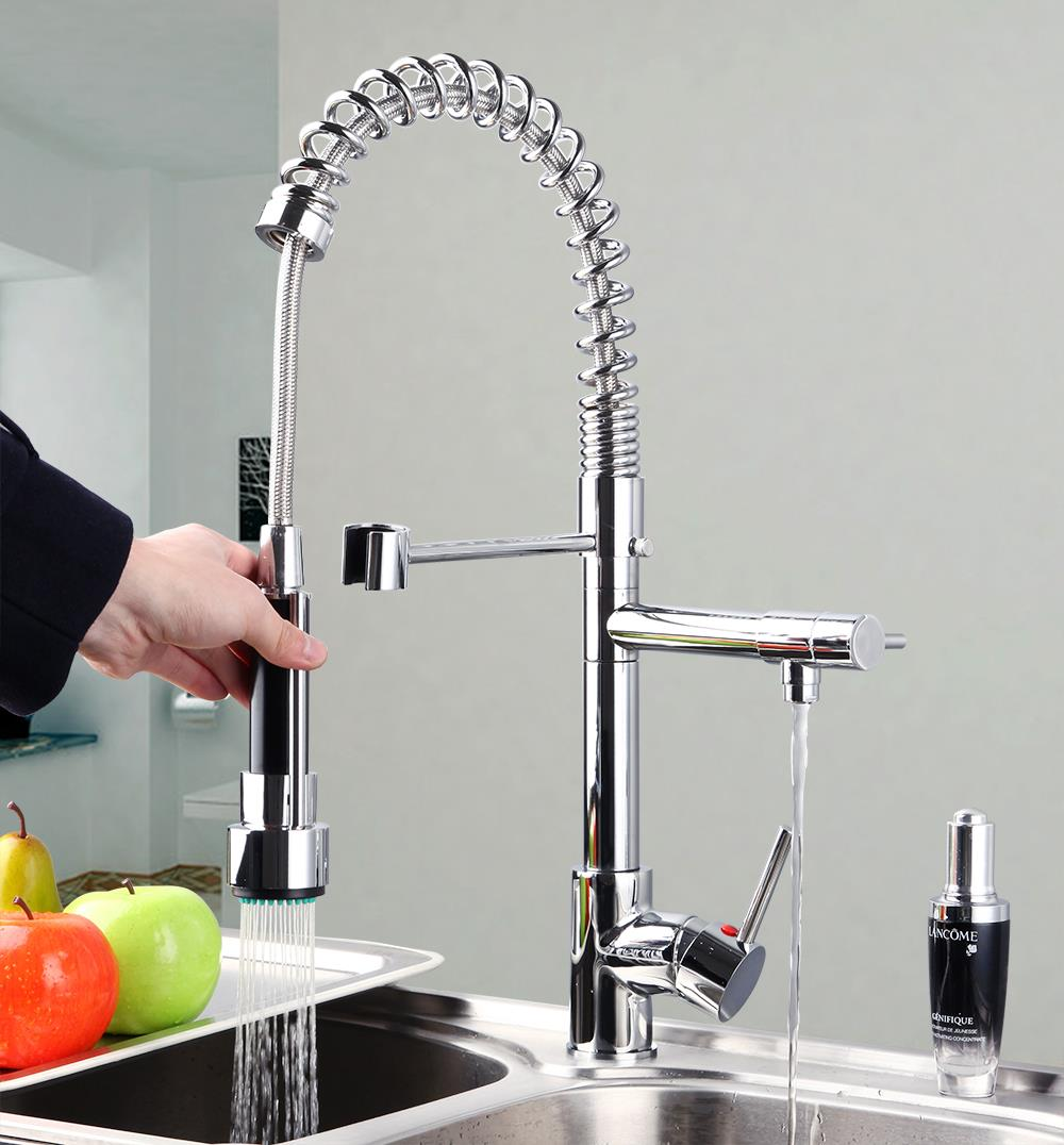 Best quality wholesale retail Water Solid Brass Chrome Kitchen Faucet Vessel swivel spout faucet 8525/52 Faucets,Mixers & Taps(China (Mainland))
