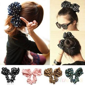 2015 New Design Free Shipping Hair Accessories Lovely Big Rabbit Ear Bow Headband Ponytail Holder Hair Tie Band Korean Style(China (Mainland))