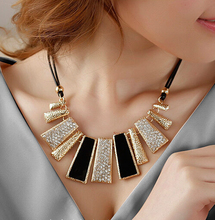New Vintage Jewelry Gold Plated Alloy Crystal PU Leather Necklaces & Pendants Wholesale Min$10(can mixed items) Free shipping