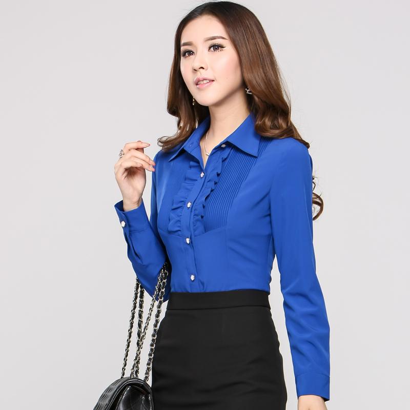 Fashion Blue Shirts Women Work Blouse Long Sleeve Office Uniform Designs Blusas Femininas 2015 Fall Female Tops Plus Size - Kidmall Online Store store