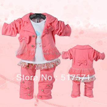 2013 baby girls bow Sets small suit  coat+Lace T-shirt+pants infant children's clothing in the spring/autumn