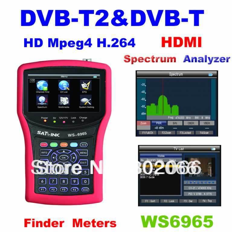 2014 new arrival HDMI HD Terrestrial DVB-T + T2 Meter SIGNAL FINDER WS6965 spectrum analzyer satellite dvbt meter finder(China (Mainland))