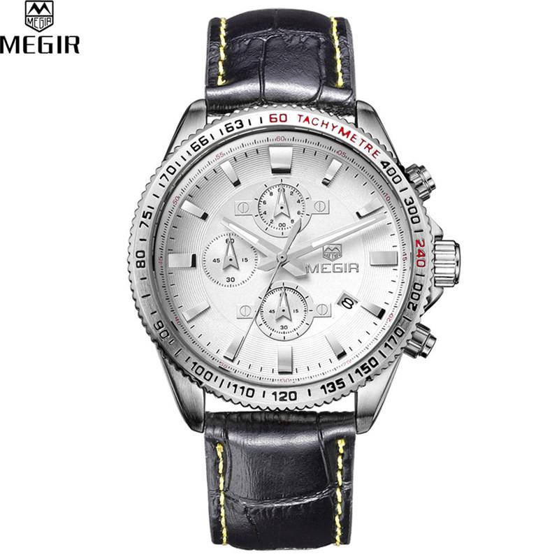 MEGIR Хронограф Спортивные Часы Мужчины Аналоговые Цифровые Часы Класса Люкс Кожаный Ремешок Моды для Мужчин Часы Relogio Masculino