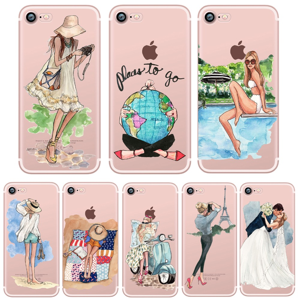 phone cases Luxury Fashion Travel Girl Design Clear soft silicone case cover for Apple iphone 7 7plus 5S SE 6S 6plus coque(China (Mainland))