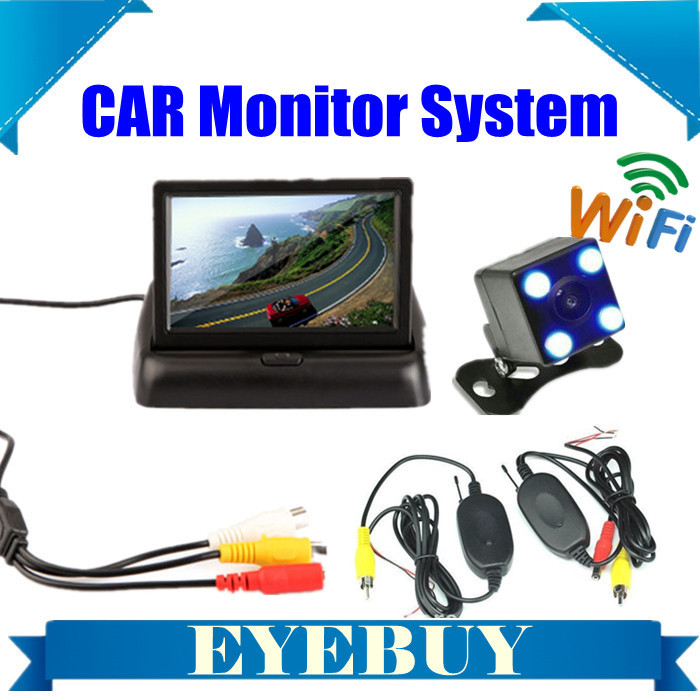 "car wireless Automotive truck auto back up Reversing Camera 4.3"" TFT LCD Monitor wifi system nightvision car rearview camera kit(China (Mainland))"